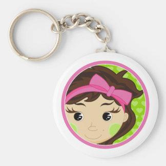 Cute Girl with Brown Hair Keychain