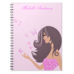 Cute girl with butterflies Notebook