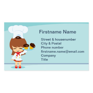 Cute Girl with Cupcakes Business Card