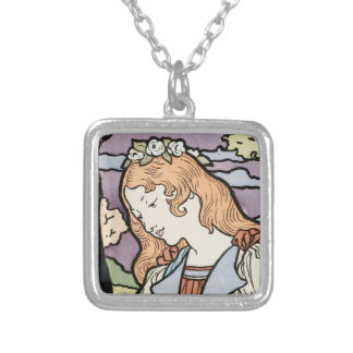 Cute girl with floral wreath silver plated necklace