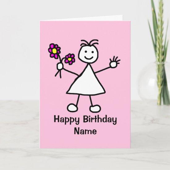 Cute Girl with Flowers Birthday Card