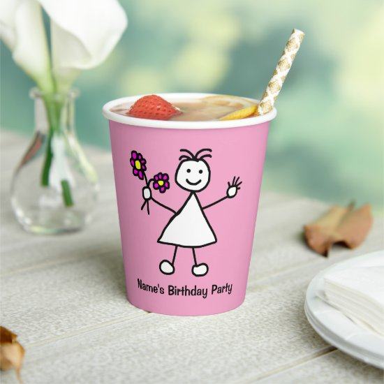 Cute Girl With Flowers Birthday Party Paper Cups