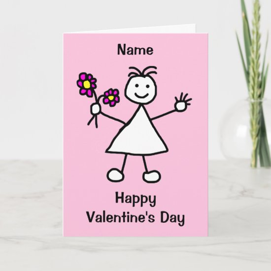 Cute Girl with Flowers Valentines Day Card