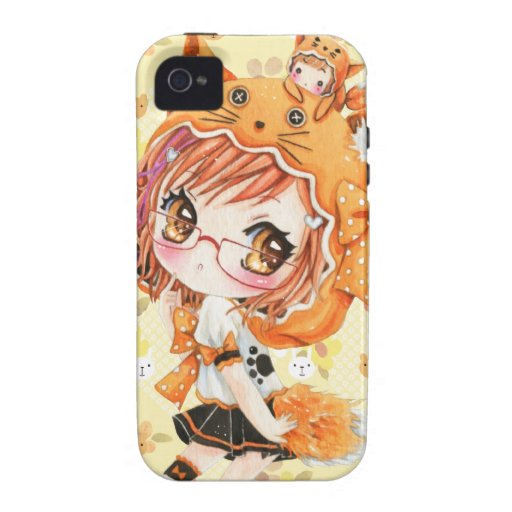 Cute girl with glasses in kawaii fox hoodie case for the iPhone 4
