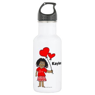 Cute Girl with Heart Balloons Personalized Stainless Steel Water Bottle