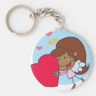 Cute Girl with Heart Keychain