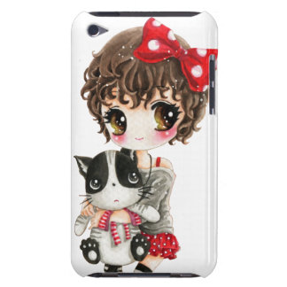 Cute girl with kawaii black cat Case-Mate iPod touch case