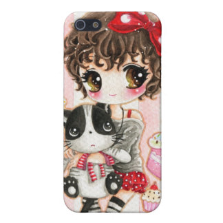 Cute girl with kawaii black cat - Iphone 4/4s case