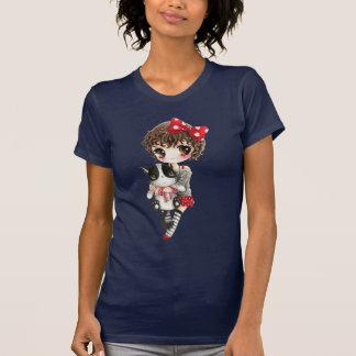 Cute girl with kawaii black cat tee shirts