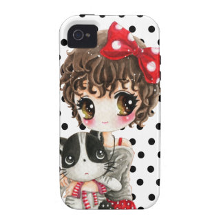 Cute girl with kawaii cat on black polka dots iPhone 4 case