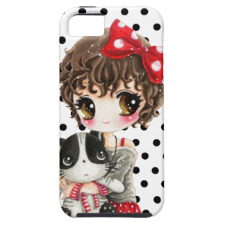 Cute girl with kawaii cat on black polka dots iPhone 5 cases