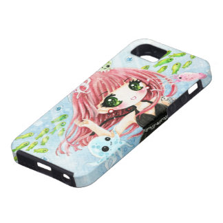 Cute girl with kawaii octopus and fish iPhone 5 covers