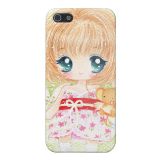 Cute girl with kawaii plushie iPhone SE/5/5s cover
