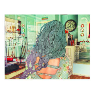 Cute girl with ombre hair illustration postcard