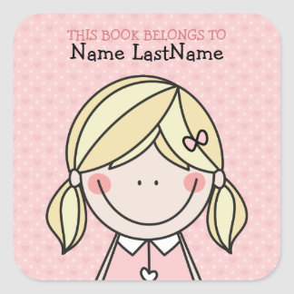 Cute Girl with Pigtails Ex Libris Square Sticker