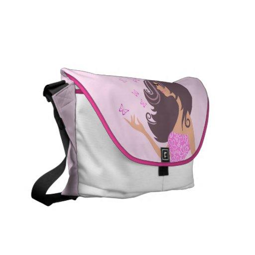Cute girl with pink butterflies Messenger Bag