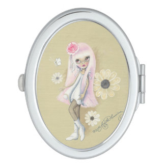 """Cute Girl With Pink Hair """"Stephanie"""" Vanity Mirror"""