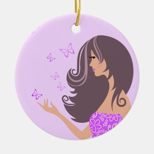 Cute girl with purple butterflies ornament