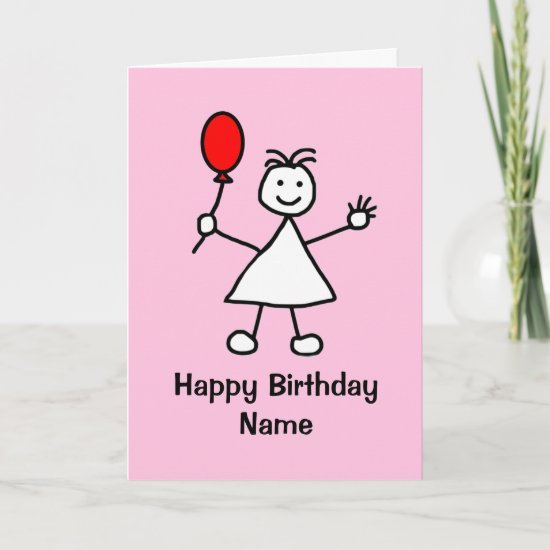Cute Girl with Red Inflatable Balloon Pink Cartoon Card