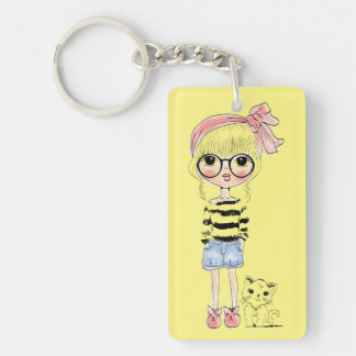 Cute Girl with Round Glasses and her Sweet Cat Keychain
