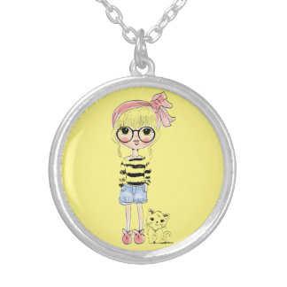 Cute Girl with Round Glasses and her Sweet Cat Silver Plated Necklace