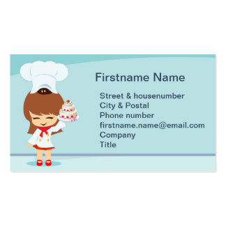 Cute Girl with Strawberry Cake Business Card