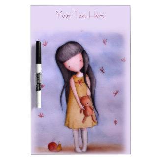 Cute Girl with Teddy Bear Dry-Erase Board