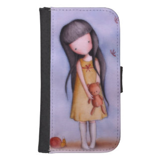 Cute Girl with Teddy Bear Samsung S4 Wallet Case Phone Wallet Cases