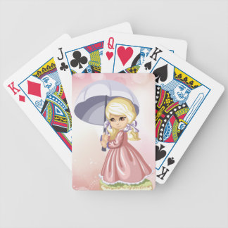 Cute Girl with Umbrella Playing Cards