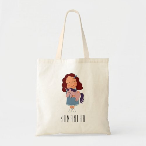 Cute Girl with Unicorn Personalized Name Kids Tote Bag