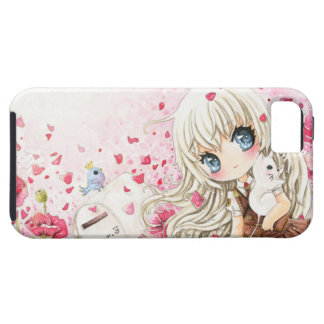 Cute girl with white cat on pink flowers field iPhone SE/5/5s case