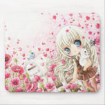 Cute girl with white cat on pink flowers field mouse pads