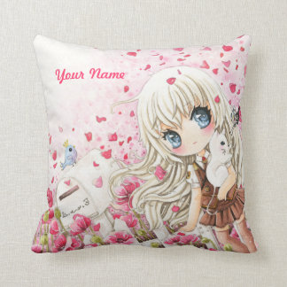 Cute girl with white cat on pink flowers field throw pillows