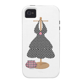 Cute Girlie Black and White Polka Dot Dress Case-Mate iPhone 4 Covers