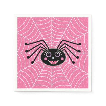 Halloween Themed Cute Girlie Halloween Spider on Web Party Paper Napkin