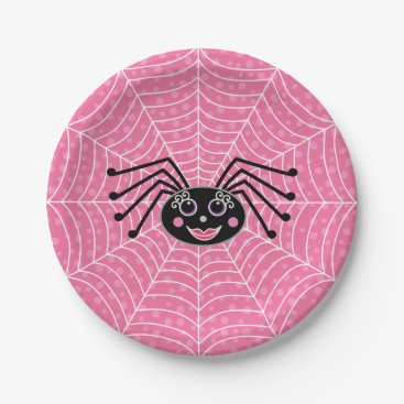 Halloween Themed Cute Girlie Spider on Web Paper Plate
