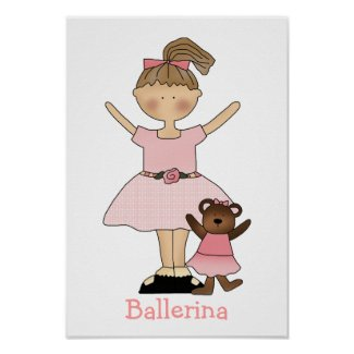 Cute Girl's Ballerina Print print