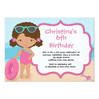 Cute Girls Beach Party Birthday Party Invitations