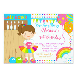 Bowling birthday party invitations announcements zazzle cute girls bowling birthday party invitation filmwisefo Choice Image