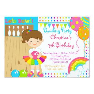 Bowling birthday party invitations announcements zazzle cute girls bowling birthday party invitation filmwisefo
