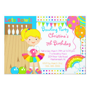 Girls bowling party invitations zazzle cute girls bowling birthday party invitation filmwisefo