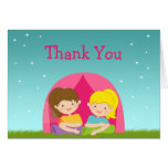 Cute Girls Camping Birthday Party Thank You Stationery Note Card