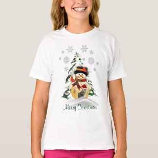 Cute Girls Christmas Snowman and Birds T-Shirt