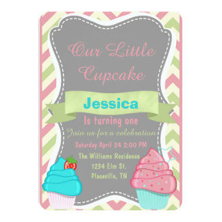 Cute girls Cupcake Birthday Invite invitation
