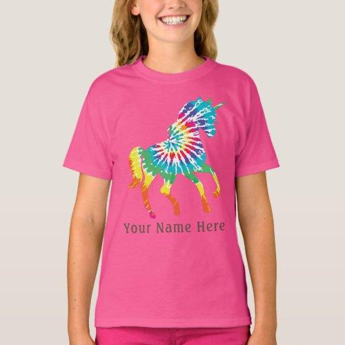 Cute Girls custom name  Dancing tie_dye  Unicorn T_Shirt