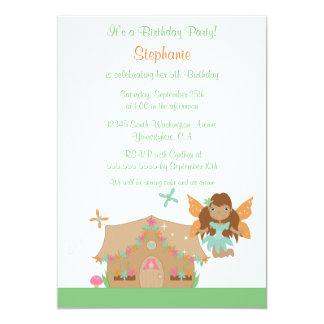 Cute girl's flying fairy birthday party invitation