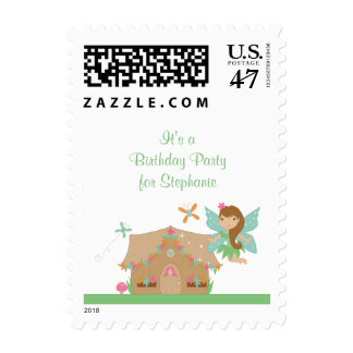 Cute girl's flying fairy birthday party stamps