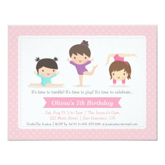 Cute Girls Gymnastics Birthday Party Invitations