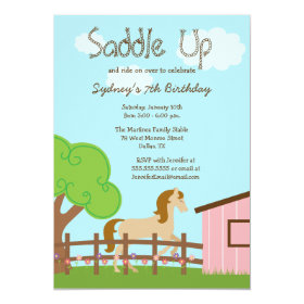 Cute girls horse birthday party invitation 5