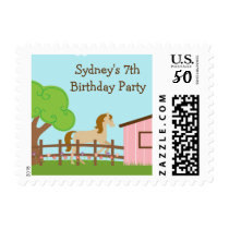 Cute girls horse birthday party stamps